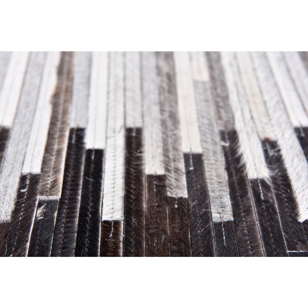 THEKO Fellteppich »Kobe-Streifen«, rechteckig, 3 mm Höhe, Patchwork, handgenäht, echtes Rinderfell in Naturtönen, Wohnzimmer