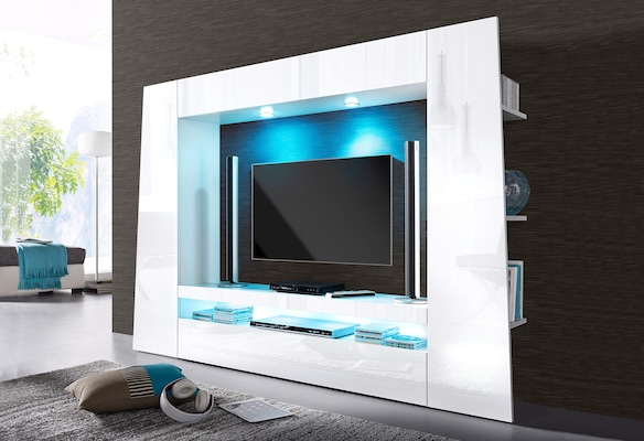 TV-Wand in Weiß Hochglanz