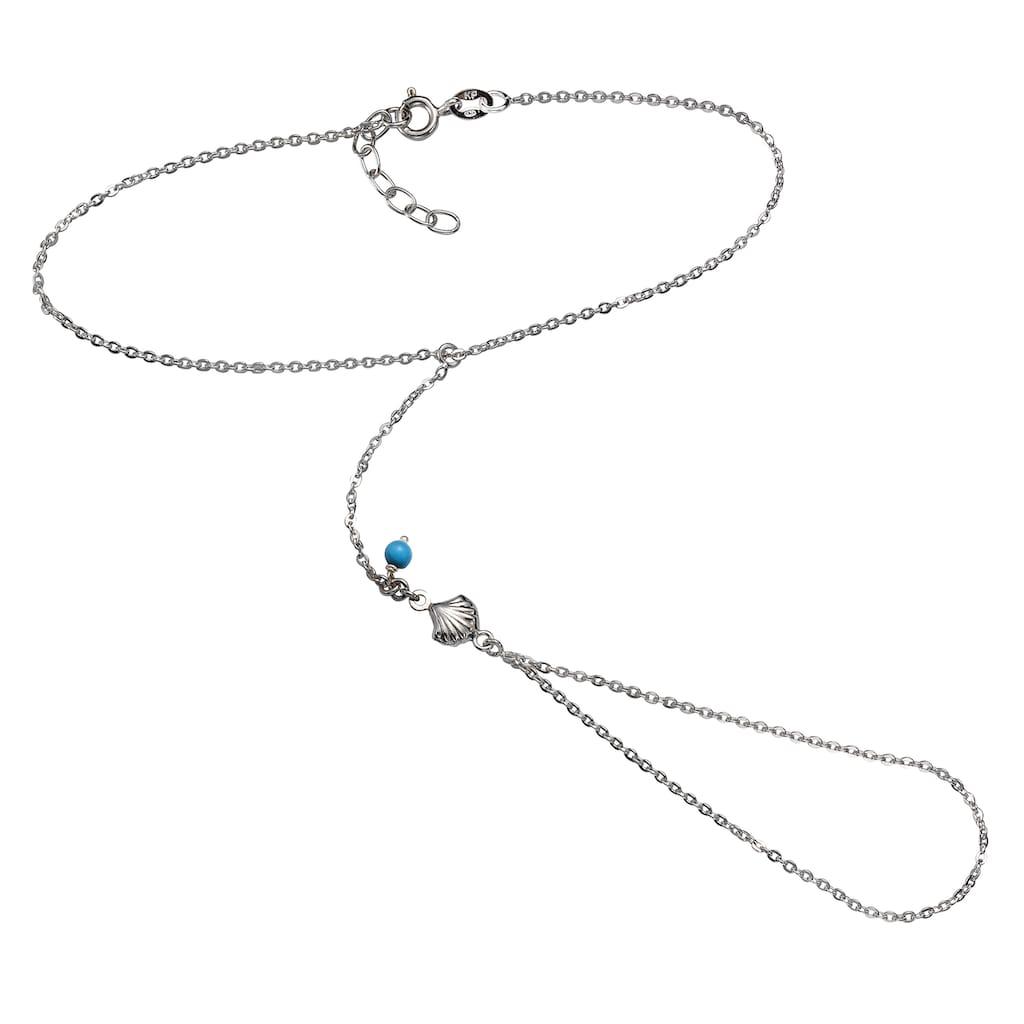 Zeeme Fußkette »925/- Sterling Silber rhodiniert Türkis«