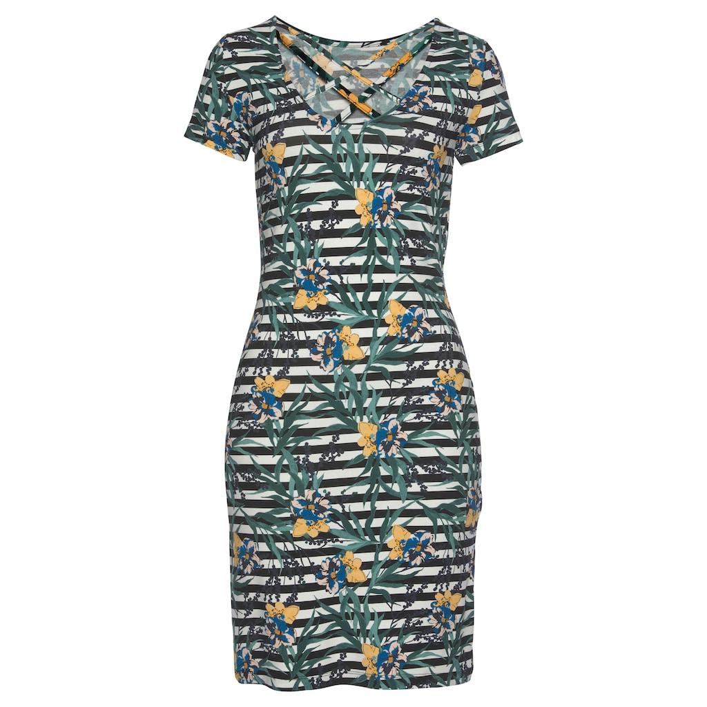 Tamaris Jerseykleid, in tollem Print mit Rückenschnürung