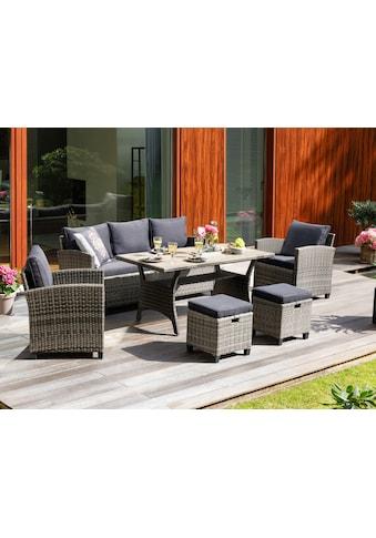 KONIFERA Loungeset »Amsterdam«, 16 - tlg., 3er Sofa, 2 Sessel, 2 Hocker, Tisch, Polyrattan kaufen