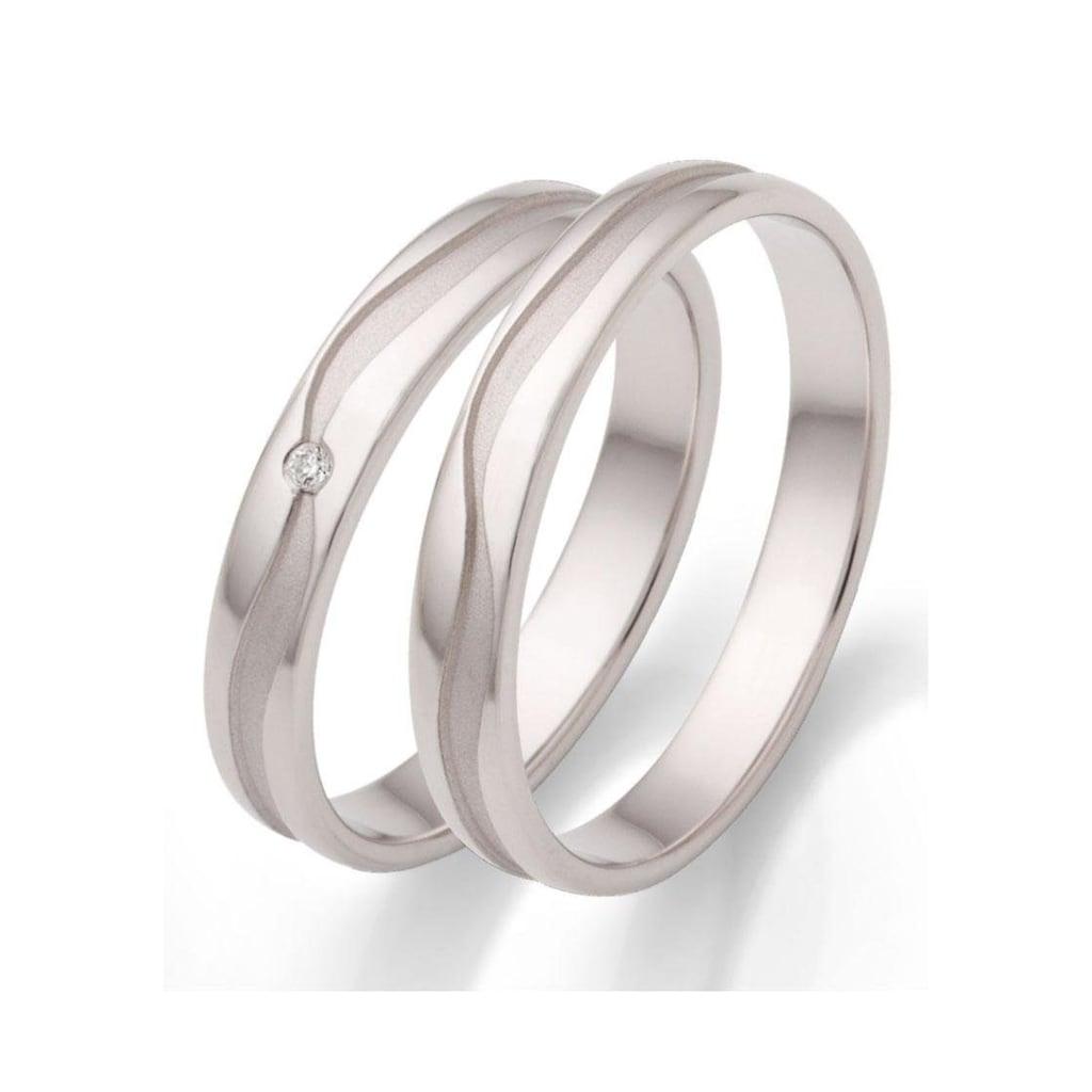 Firetti Trauring mit Gravur »glanz, sandmatt, wellenförmiger Diamantschnitt, rhodiniert, 3,5 mm breit«, wahlweise mit oder ohne Zirkonia