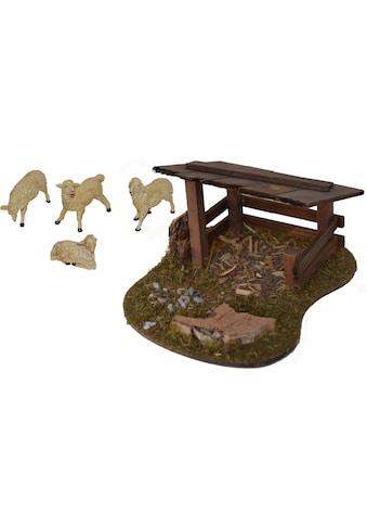 Alfred Kolbe Krippen - Zubehör »Schafunterstand und 4 Schafe« (Set, 5 Stück) kaufen