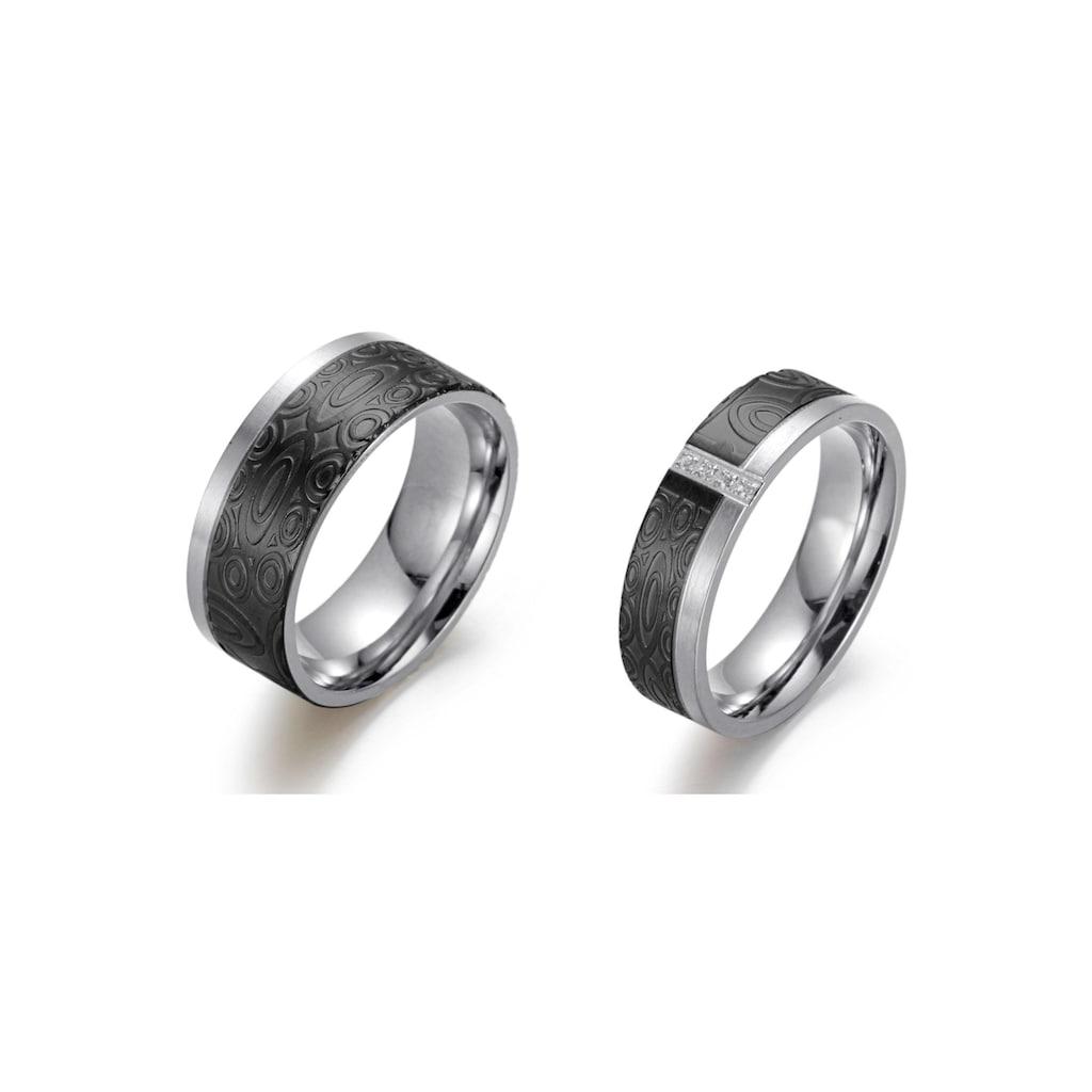 Firetti Trauring »6,0 mm, 8,0 mm, bicolor, teilweise IP-beschichtet, schwarz, glänzend, matt, strukturiert«, wahlweise mit oder ohne Zirkonia