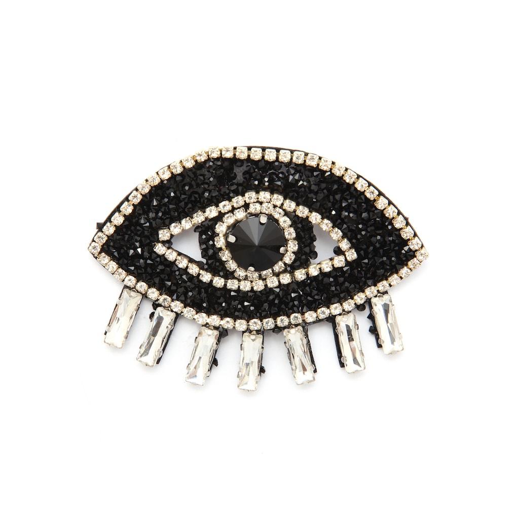J.Jayz Brosche »Auge, funkelndes Design«, mit Glassteinen
