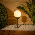 my home LED Gartenleuchte »LED Kugelerdspiess«, LED-Modul, 8 St., Warmweiß, LED Solarlampen mit Erdspieß, 8er Set mit warmweißem Licht, Höhe 34 cm, Ø 10 cm, integriertes Solarmodul, inkl. Akku und Dämmerungsschalter