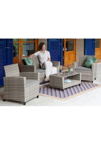 KONIFERA Loungeset »New Porto«, 7 - tlg., 2er Sofa, 2 Sessel, Tisch 90x47 cm, Polyrattan kaufen