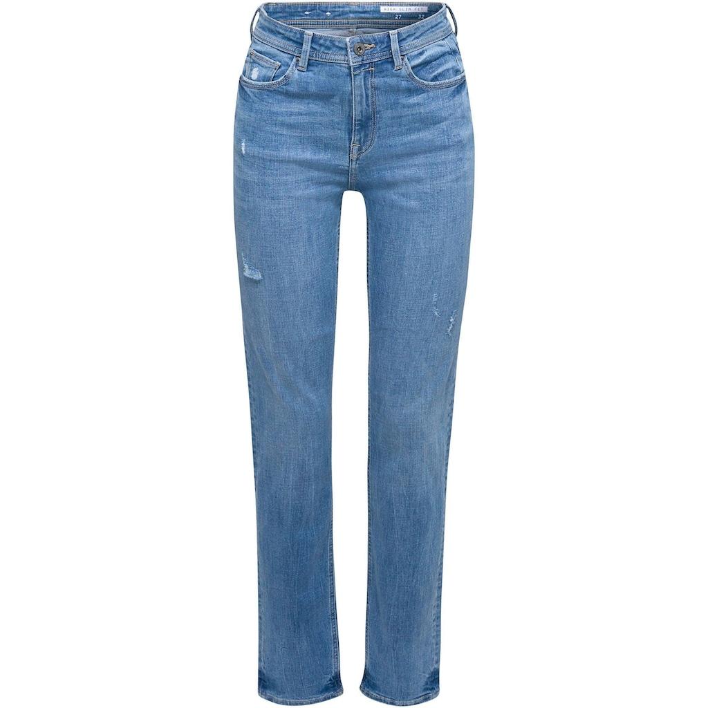 edc by Esprit Stretch-Jeans, mit coolen Used-Effekten und im High-Waist Stil