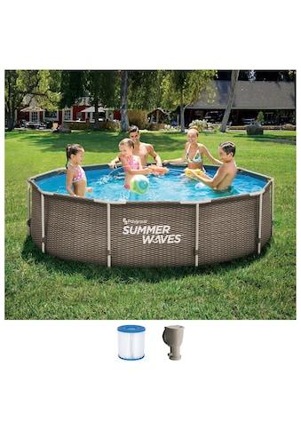 SummerWaves Rundpool »Active Frame«, (Set, 3 tlg.), ØxH: 305x76 cm kaufen