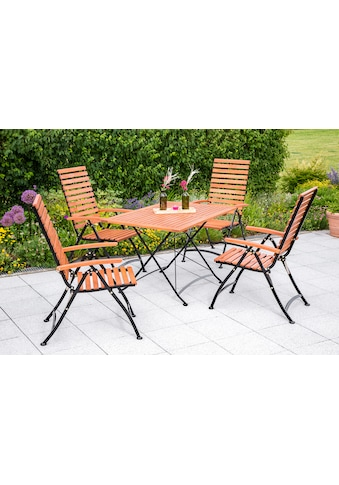 MERXX Gartenmöbelset »Schloßgarten«, 5tlg., 4 Sessel, Tisch, klappbar, Eukalyptusholz, natur kaufen