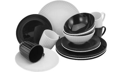 CreaTable Kombiservice »Allegra Black & White«, (Set, 16 tlg.), aktuelles Trend-Design in Schwarz/Weiß kaufen