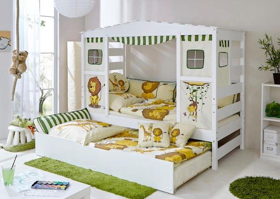 Spielbett in weiß mit zusätzlich ausziehbaren Bett