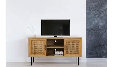 my home Lowboard »Ailis«, Türen mit Einsatz aus Rattangeflecht, 2 Kabeldurchführungen kaufen