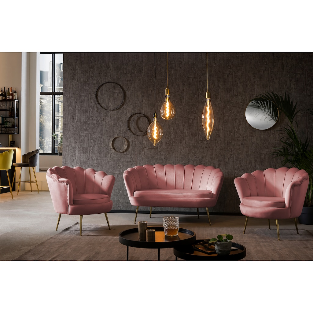 SalesFever Loungesessel »Clam«, im Muscheldesign, Cocktailsessel in weichem Samtvelours