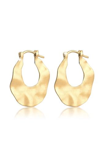 Elli Paar Creolen »Wave Creolen Hänger Organic Look Matt 925 Silber« kaufen