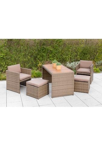 MERXX Gartenmöbelset »Merano Wicker«, 9 - tlg., 2 Sessel, 2 Hocker, Tisch 69x127 cm, Polyrattan kaufen