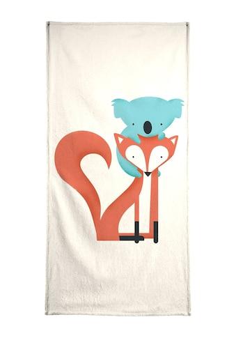 Juniqe Handtuch »Fox and Koala«, (1 St.), Weiche Frottee-Veloursqualität kaufen
