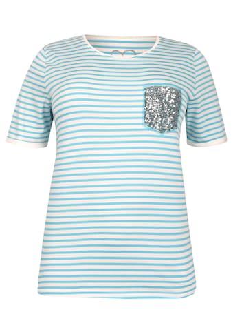 VIA APPIA DUE Sportives T-Shirt mit Pailletten-Patch Plus Size kaufen