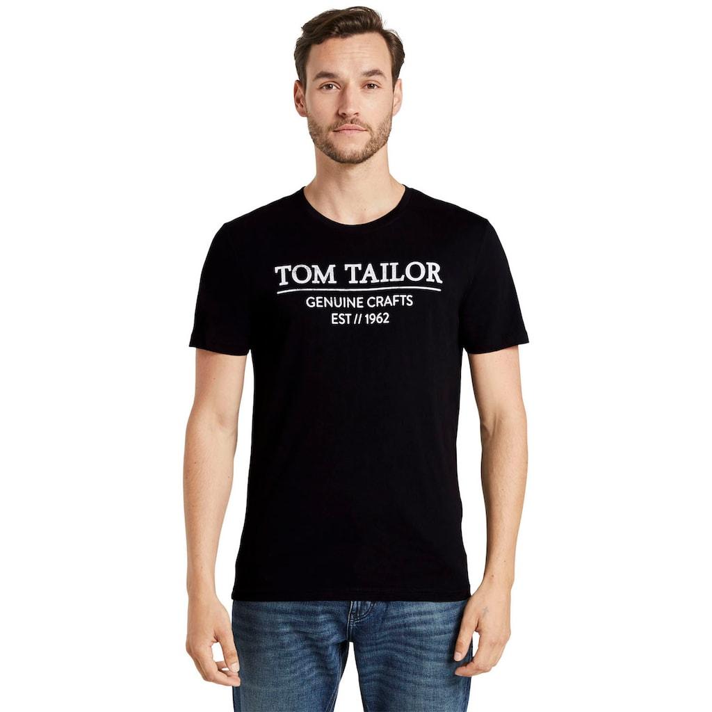 TOM TAILOR Rundhalsshirt, mit großem Logofrontprint