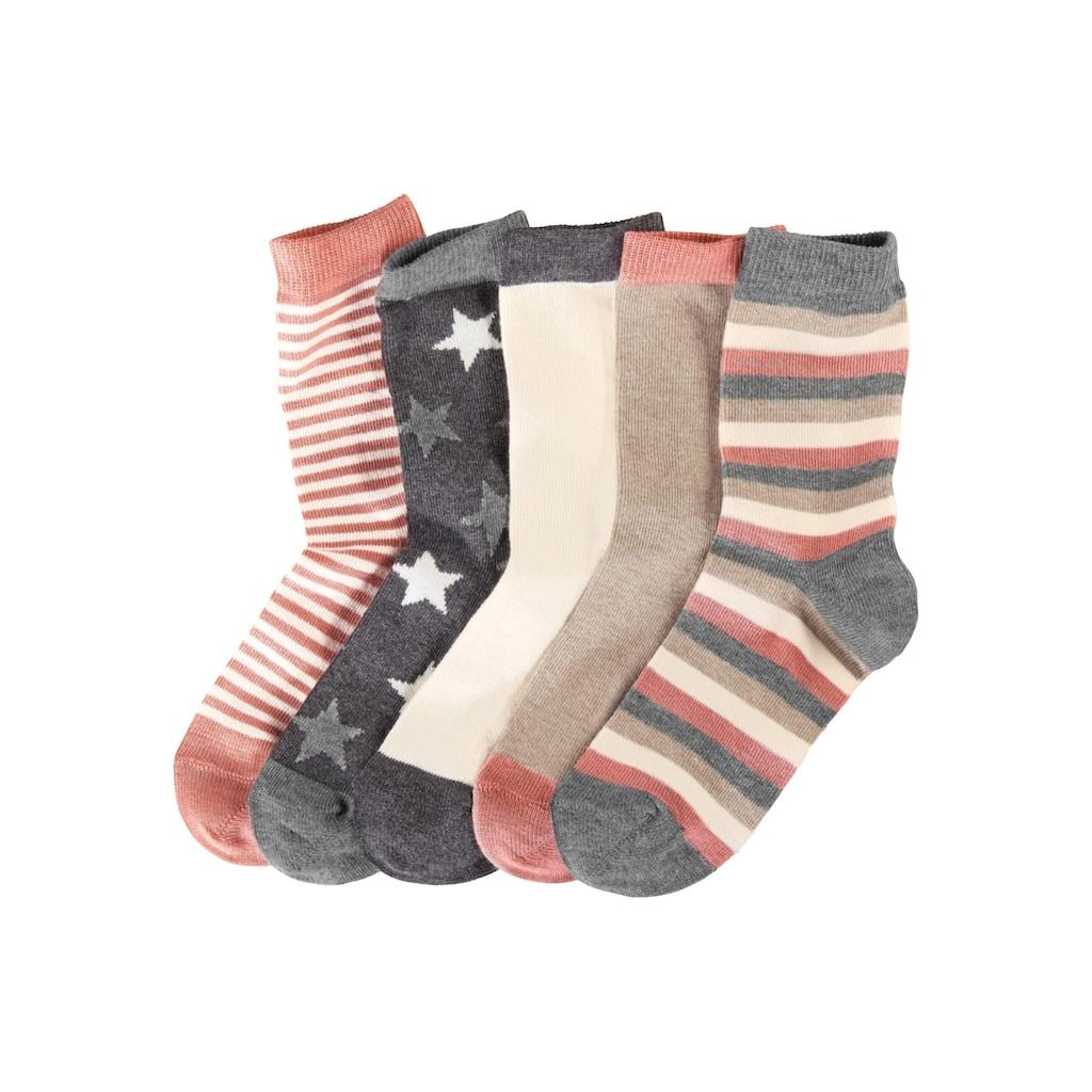 Socken, (5 Paar), in 5 verschiedenen Designs