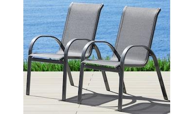 MERXX Gartenstuhl »Amalfi«, (2er Set), Alu/Textil, stapelbar, anthrazit kaufen