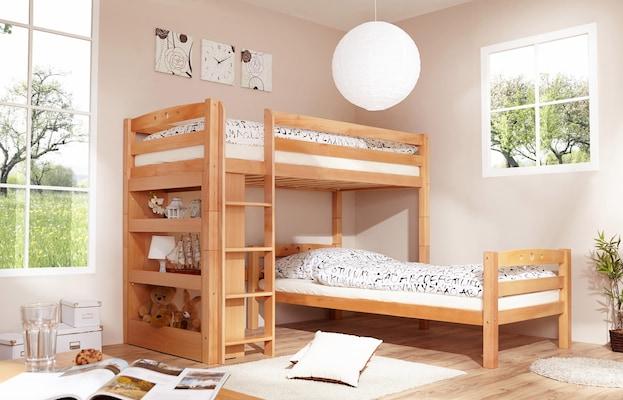 Holz-Etagenbett mit unterm Bett im rechten Winkel