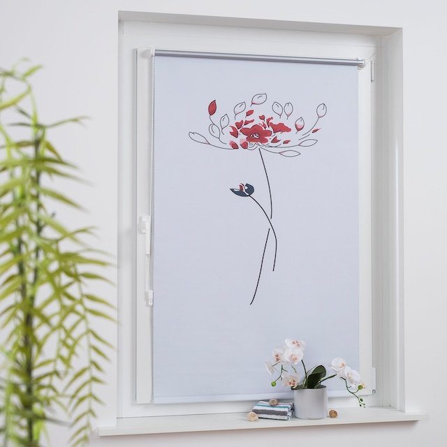 Seitenzugrollo »Druckdesign Blume«, Liedeco, verdunkelnd, ohne Bohren, freihängend