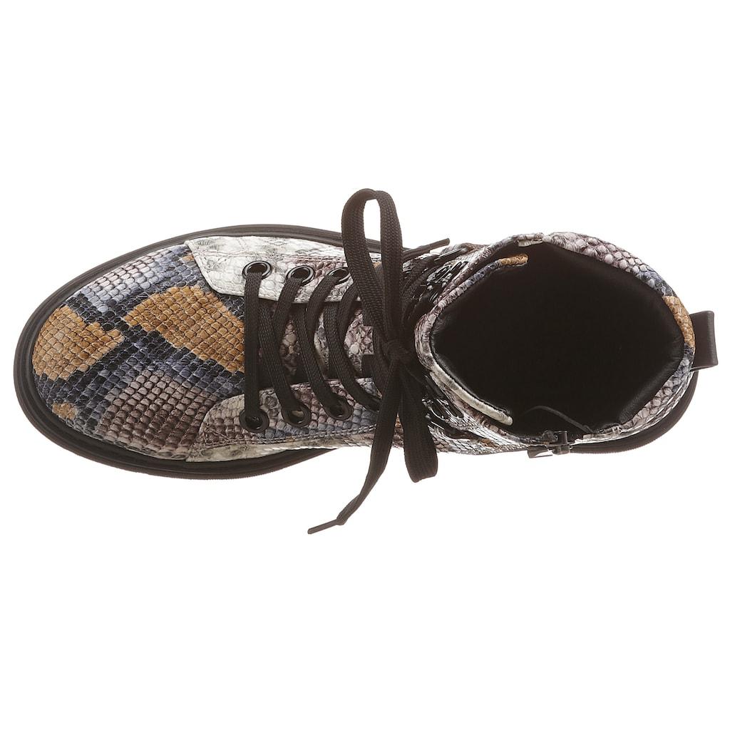 MARCO TOZZI Schnürstiefelette, mit angesagter Schlangenprägung
