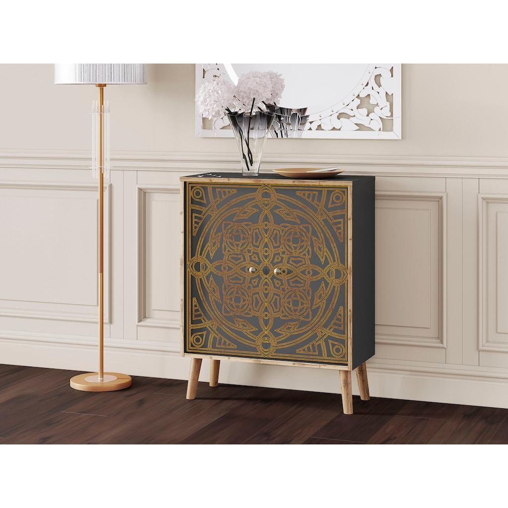 Leonique Kommode »Clivia«, mit dekorativem Print auf den Türen