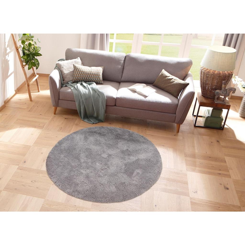 my home Hochflor-Teppich »Desner«, rund, 38 mm Höhe, Besonders weich durch Microfaser, Wohnzimmer