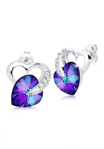 Elli Paar Ohrstecker »Herz Liebe Kristalle 925 Silber« kaufen