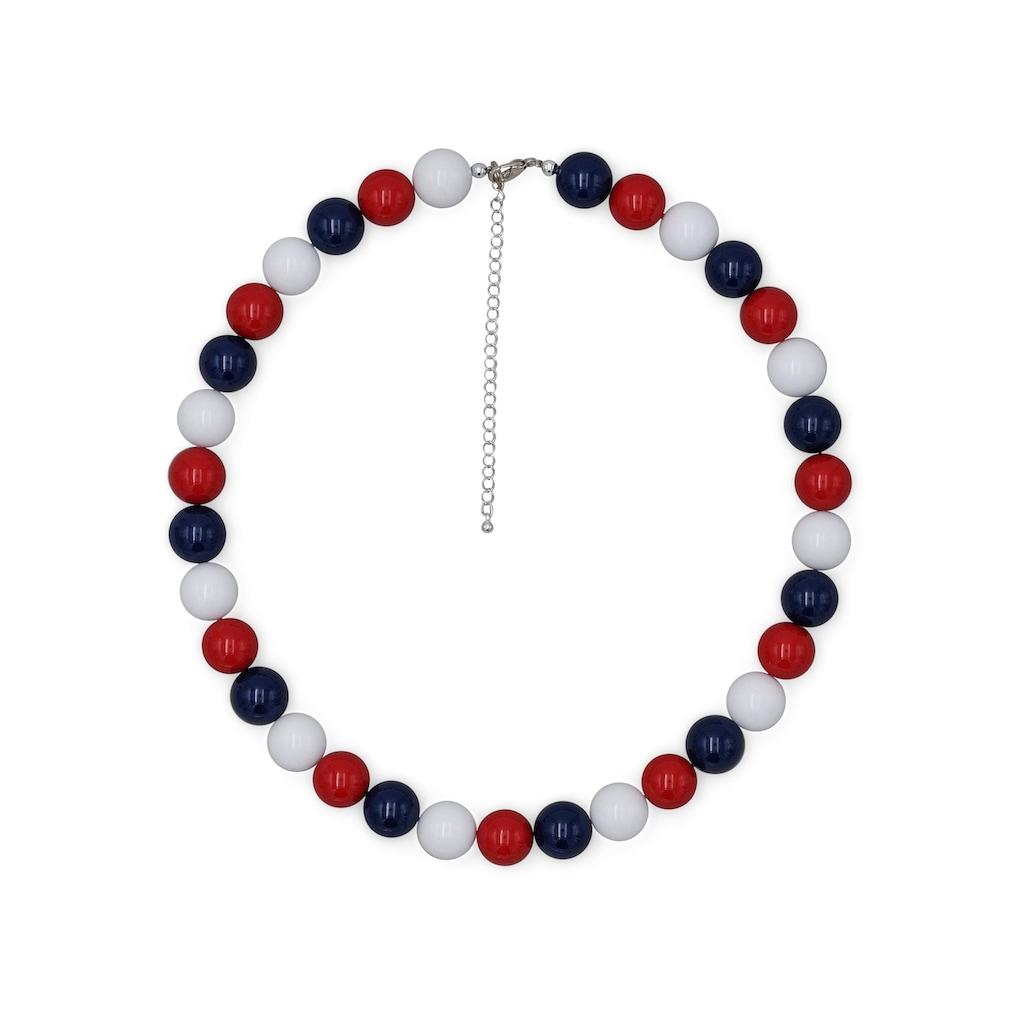 J.Jayz Collier »Perlenkette in blau, rot und weiß«, mit Kunststoffperlen, Made in Germany