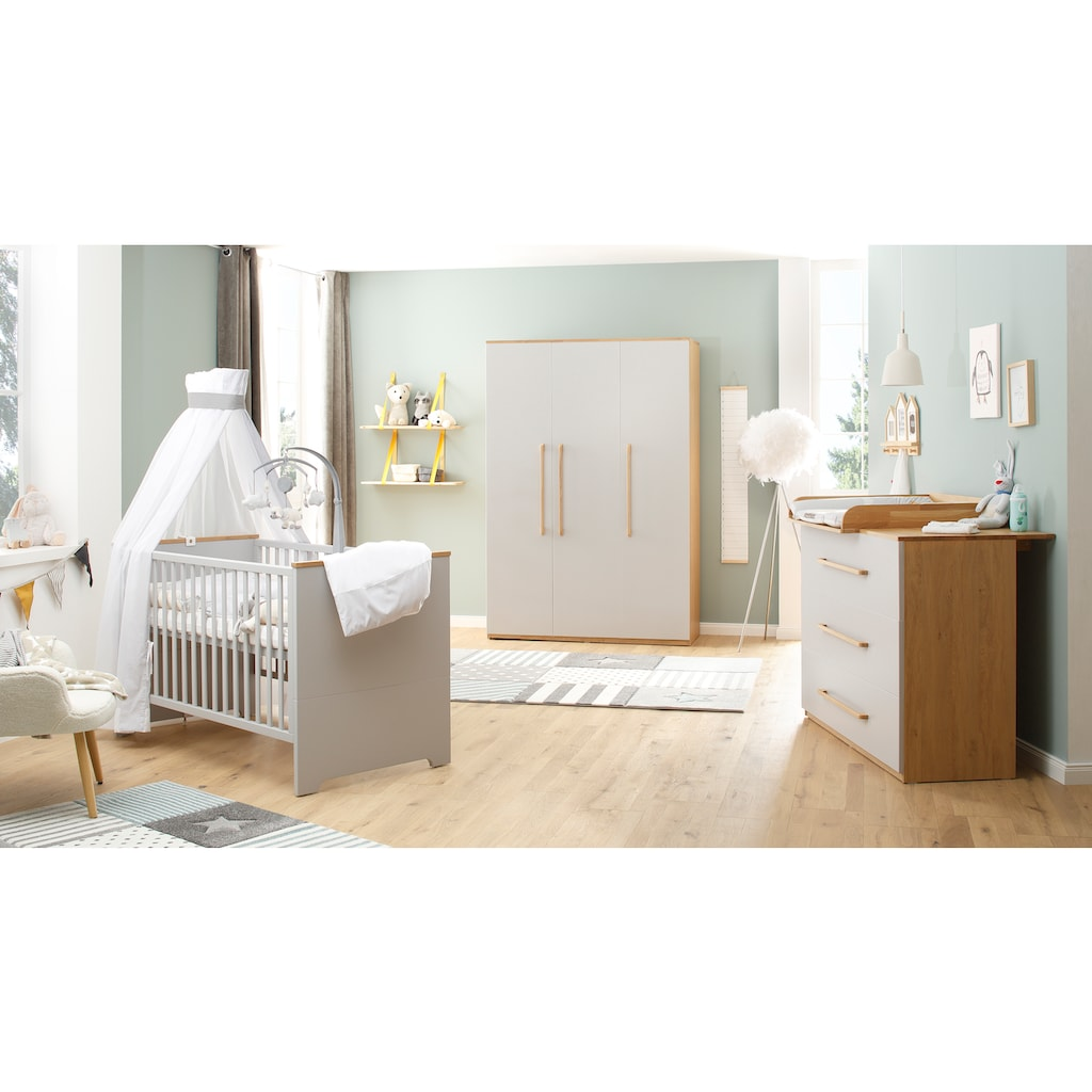 Lüttenhütt Baby Kleiderschrank »Lauris, grau/eiche«, FSC®-Holz aus gewissenhaft bewirtschafteten Wäldern