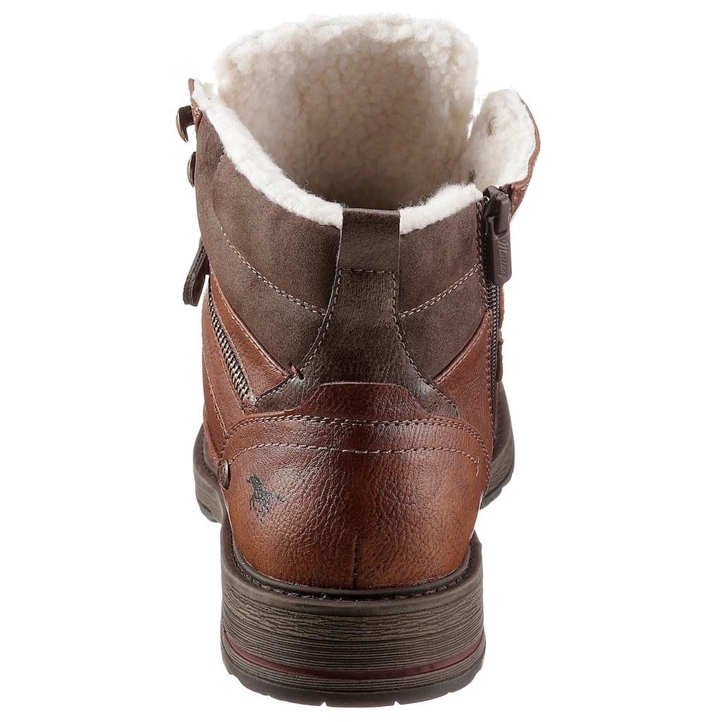 Mustang Shoes Winterstiefelette, mit Zierreißverschluss an der Außenseite
