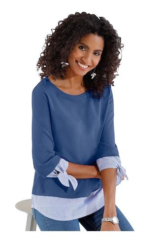 Classic Basics Shirt mit gestreiften Webeinsätzen an den Ärmeln kaufen