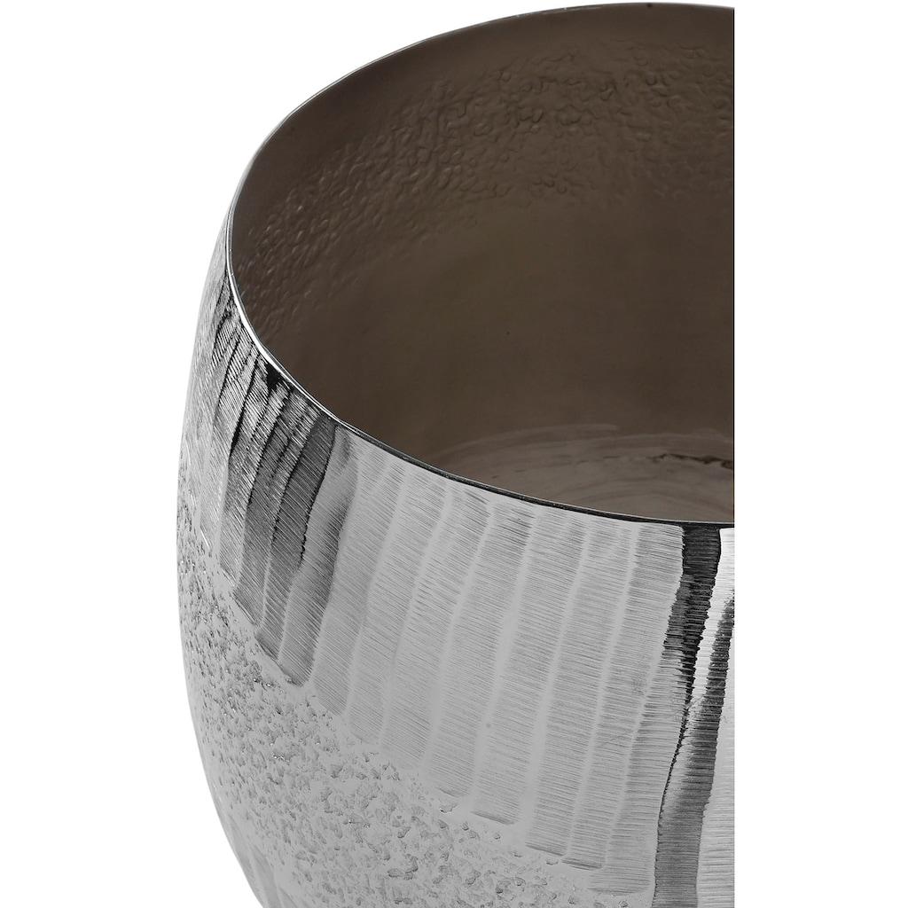 Fink Übertopf »MORENA, silberfarben«, (1 St.), handgefertigt, aus Metall, vernickelt, in verschiedenen Größen erhältlich, Pflanzübertopf, Blumenübertopf, Blumentopf, Wohnzimmer