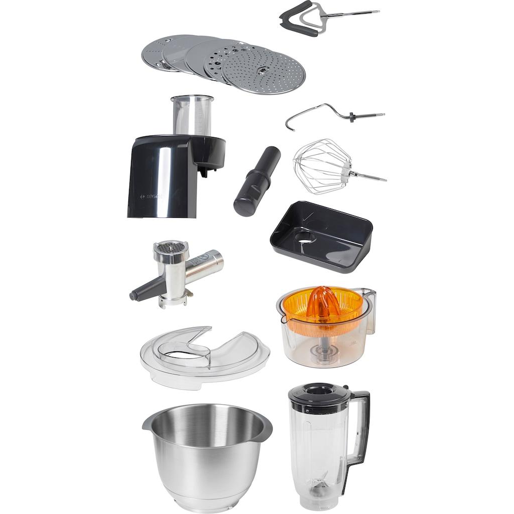 BOSCH Küchenmaschine »MUM5, HomeProfessional MUM57860«, vielseitig einsetzbar, Durchlaufschnitzler, 3 Reibescheiben, Zitruspresse, Fleischwolf, Mixer, Edelstahl/silber