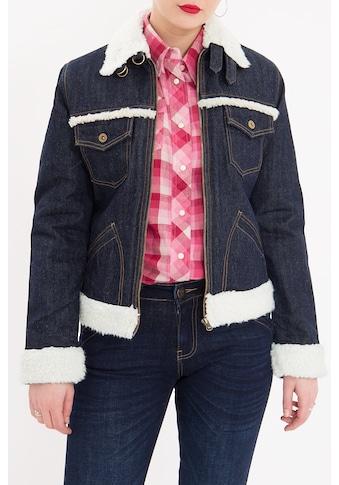 QueenKerosin Jeansjacke, mit Teddyfell Kragen und Futter kaufen