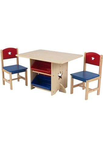 KidKraft® Kindersitzgruppe »Tisch mit Aufbewahrungsboxen und 2 Stühlen, Sternchen« (3 - tlg) kaufen