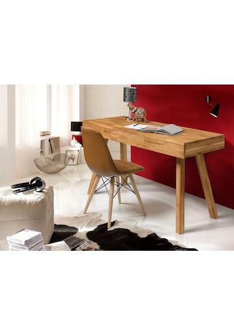 Home affaire Schreibtisch »Modern«, aus schönem massivem Eichenholz, 3 Schubladen, rechteckige Tischform kaufen