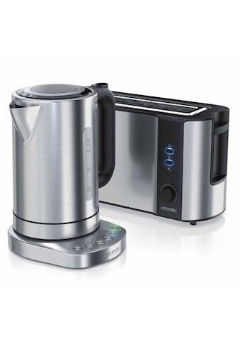 Arendo Frühstücks - Set 2 - teilig in Edelstahl Design »Wasserkocher (Temperaturauswahl) & Toaster« kaufen