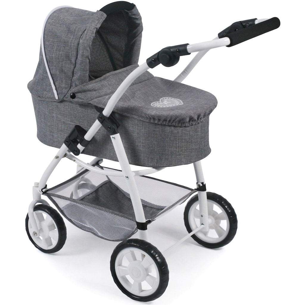 CHIC2000 Kombi-Puppenwagen »Emotion All In 3in1, Jeans Grey«, inkl. Babywanne, Babyschale und Sportwagenaufsatz