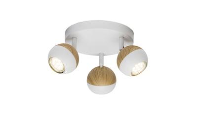 Brilliant Leuchten Scan LED Spotrondell 3flg weiß/holz hell kaufen