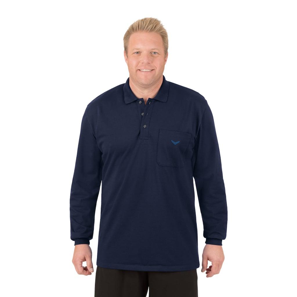 Trigema Langarm Poloshirt aus Baumwolle