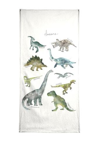 Juniqe Handtuch »Dinosaurs«, (1 St.), Weiche Frottee-Veloursqualität kaufen