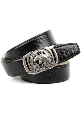 Anthoni Crown Ledergürtel, mit Metallschnalle mit Pferde-Emblem kaufen