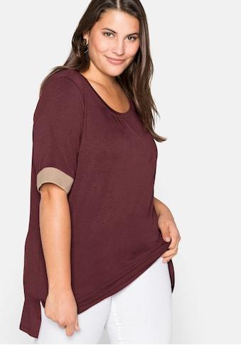 Sheego Rundhalsshirt, mit Kontrastbündchen, aus Viskose kaufen