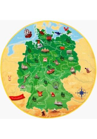 Böing Carpet Kinderteppich »DeutschlandKarte DE-1«, rund, 2 mm Höhe, Spielteppich,... kaufen