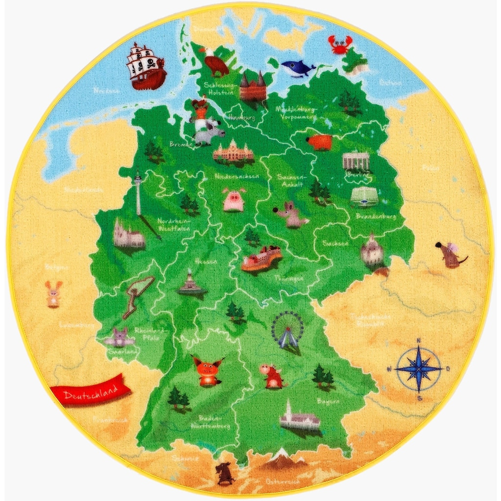 Böing Carpet Kinderteppich »DeutschlandKarte DE-1«, rund, 2 mm Höhe, Spielteppich, Motiv Deutschlandkarte, Kinderzimmer