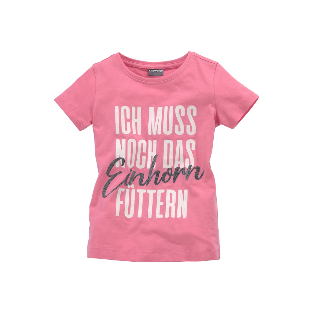 KIDSWORLD Shirt & Leggings, mit Einhorn - Spruch